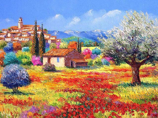 Puzzle gt gt sanatsal gt gt yağlı boya gt gt şehir ve çiçek bahçesi